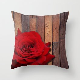 Red Rose & Wooden Background Throw Pillow