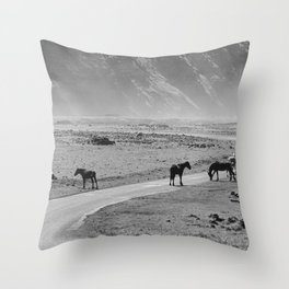 Wild Horses Cross the Road Throw Pillow
