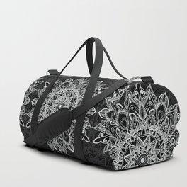 White Mandala on black Duffle Bag