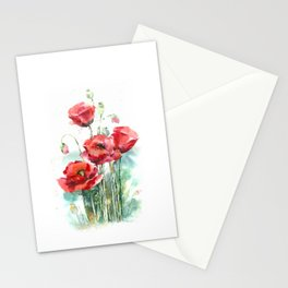 Watercolor red poppies flowers Stationery Cards