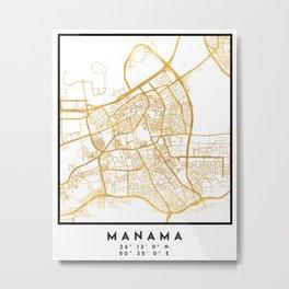 MANAMA BAHRAIN CITY STREET MAP ART Metal Print