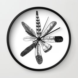 Cirlce of Feathers Wall Clock