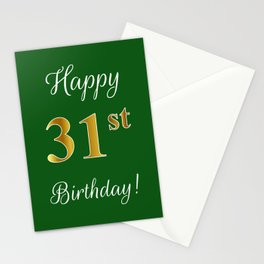 "Elegant ""Happy 31st Birthday!"" With Faux/Imitation Gold-Inspired Color Pattern Number (on Green) Stationery Cards"