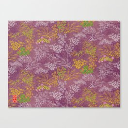 Japanese pattern floral purple Canvas Print