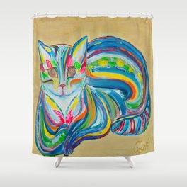 Hypnotic Rainbow Cat on neutral background Shower Curtain