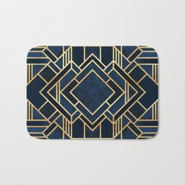 Art Deco Fancy Blue Bath Mat