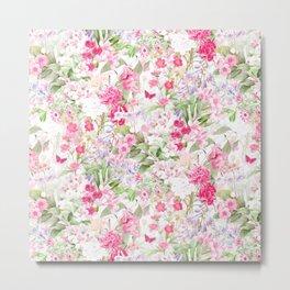 Vintage & Shabby Chic - Pastel Spring Flower Medow Metal Print