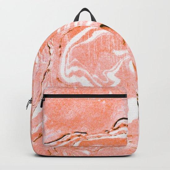 Coral Blush Marble #society6 #decor #buyart Backpack