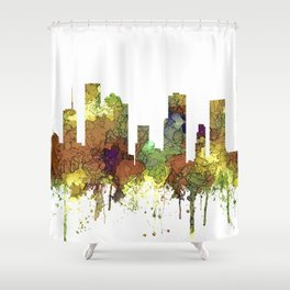 Houston Texas Skyline SG - Safari Buff Shower Curtain