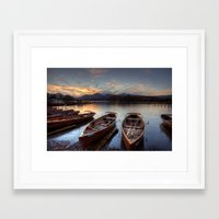 rowing Framed Art Prints featuring Derwent Water Rowing Boats by Martin Williams