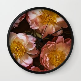 Romantic Peonies - Flowers, Nature Photography Wall Clock
