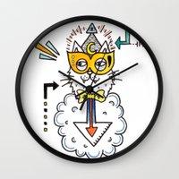 space cat Wall Clocks featuring Space Cat by Yuka Nareta