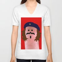 che V-neck T-shirts featuring che by Panic Junkie