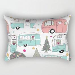 Retro Christmas Campers Rectangular Pillow
