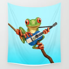 Tree Frog Playing Acoustic Guitar with Flag of El Salvador Wall Tapestry