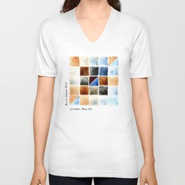 Color Chart - Burnt Sienna (W&N) and Cerulean Blue (DS) Unisex V-Neck