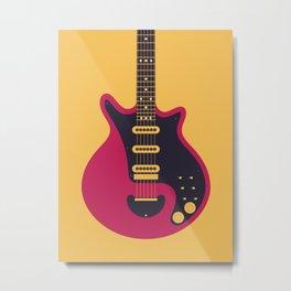 Glam Rock 70s Electric Guitar - Gold Metal Print