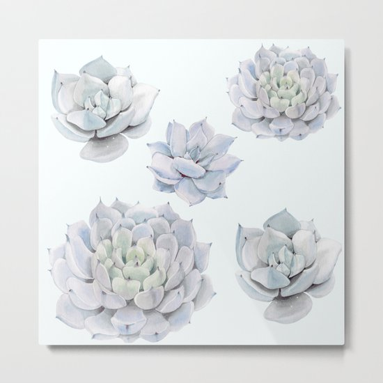 Blue Succulents Metal Print