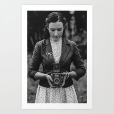 Vintage Girl with Rolleicord Art Print
