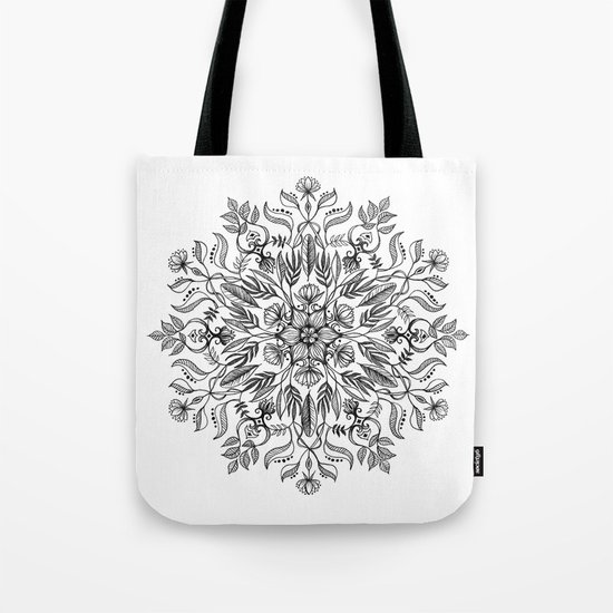 Thrive - Monochrome Mandala Tote Bag