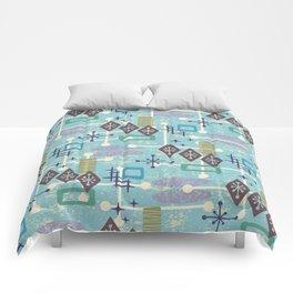 Retro Mid Century Modern Atomic Abstract Pattern 245 Comforters