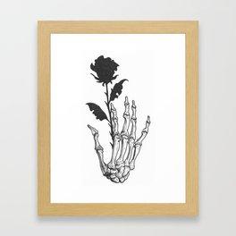 black rose skeleton Framed Art Print