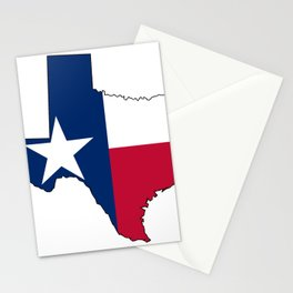Texas Map Outline and Flag Stationery Cards