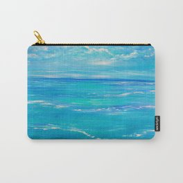 abstract ocean, teal blue, ocean painting, Caribbean Breeze Carry-All Pouch