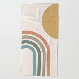 Mid Century Colorful Sun & Rainbow Beach Towel