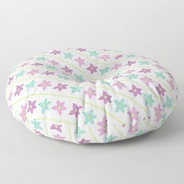 Purple and teal flowers on a white background Floor Pillow