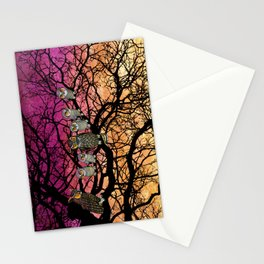 great horned owls at sunset Stationery Cards