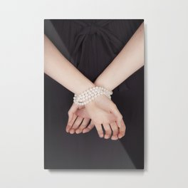 Tied with pearls Metal Print