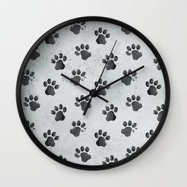 Grunge Animal Cat Dog Paw Print Pattern Wall Clock