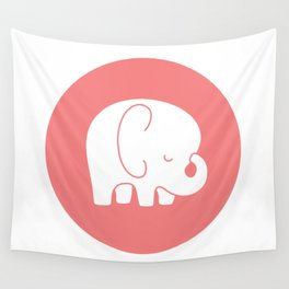 Mod Baby Elephant Coral Wall Tapestry