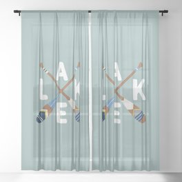 LAKE LIFE Painted Paddle Oars Sheer Curtain