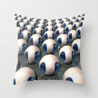 army Throw Pillows featuring Alien Army by Phil Perkins