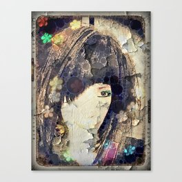 I'm with Wig Floral Canvas Print