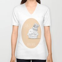 british V-neck T-shirts featuring british muffin by G. Cicero
