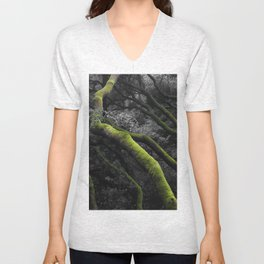 Mossy Bay Trees in Selective Black and White Unisex V-Neck