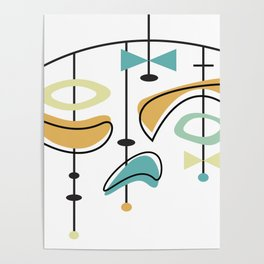 Mid Century Modern Abstract Atomic Age Poster