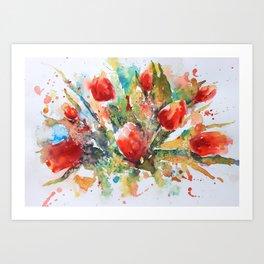 A splash of red Art Print