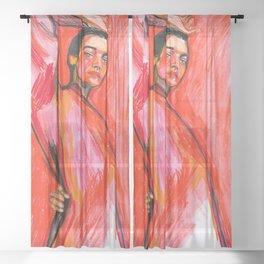 Woman in red , watercolor pencils Sheer Curtain