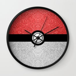 Sparkly red and silver sparkles poke ball Wall Clock