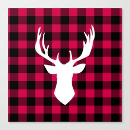 Winter Plaid Deer Canvas Print