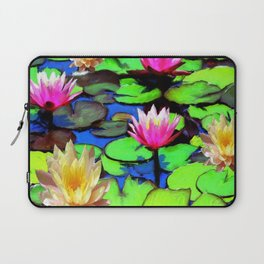 PINK & YELLOW WATER LILIES POND Laptop Sleeve