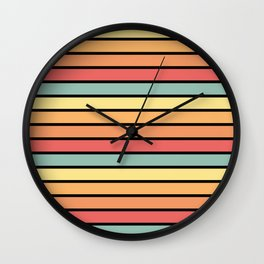 Multicolored Stripes: Sunset Colors Wall Clock