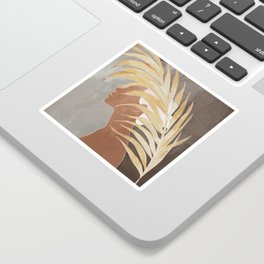 Woman with Golden Palm Leaf Sticker