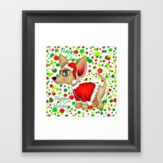 Christmas Chihuahua with dots Framed Art Print