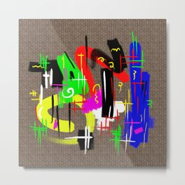 Bad Graffiti - Rainbow coloured, graffiti paint on a brick wall Metal Print