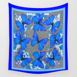 Decorative Blue Shades Butterfly Grey Pattern Art Wall Tapestry